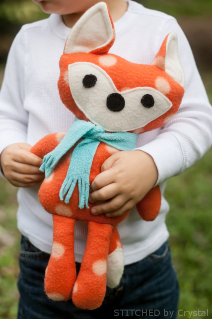 27+ Adorable Free Sewing Patterns for Stuffies, Plushies, Stuffed Animals and Other Felt and Fabric Toys- Stuffed Fox Sewing Pattern from Stitched By Crystal