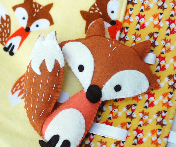 27+ Adorable Free Sewing Patterns for Stuffies, Plushies, Stuffed Animals and Other Felt and Fabric Toys- Stuffed Fox and Blanket Playset from Abby Glassenberg for Timeless Treasures