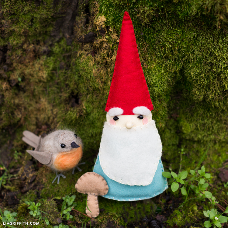 27+ Adorable Free Sewing Patterns for Stuffies, Plushies, Stuffed Animals and Other Felt and Fabric Toys- Stuffed Garden Gnome Stuffie Pattern from Lia Griffith