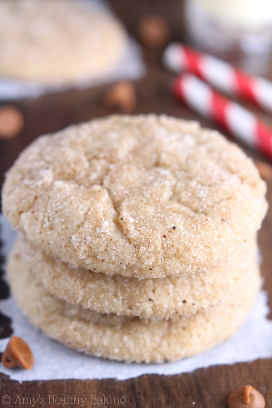 27+ Cookie Recipes Perfect For Christmas Cookie Exchanges- Eggnog Snickerdoodles Recipe from Amy's Healthy Baking