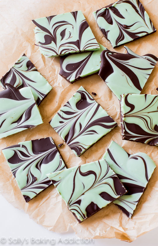 27+ Cookie Recipes Perfect For Christmas Cookie Exchanges- Mint Chocolate Swirl Bark Recipe from Sally's Baking Addiction