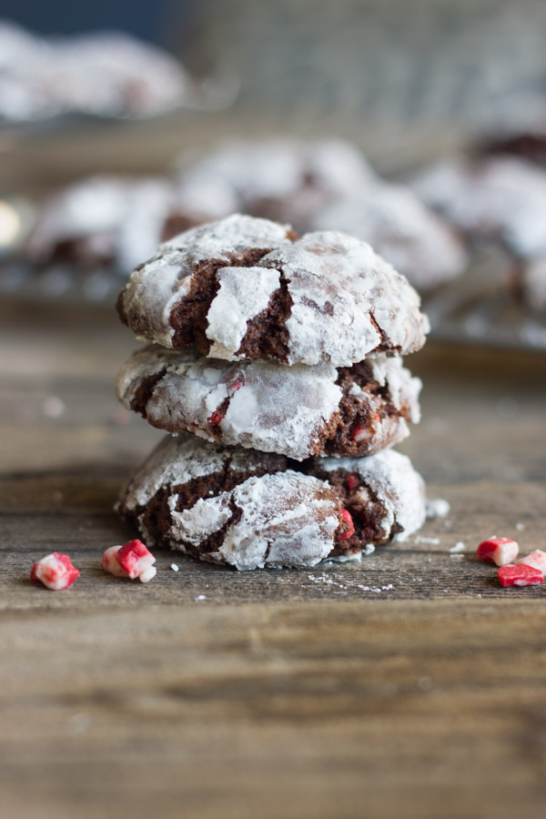 27+ Cookie Recipes Perfect For Christmas Cookie Exchanges- Peppermint Crunch Chocolate Crinkle Cookies Recipe from Lovely Little Kitchen