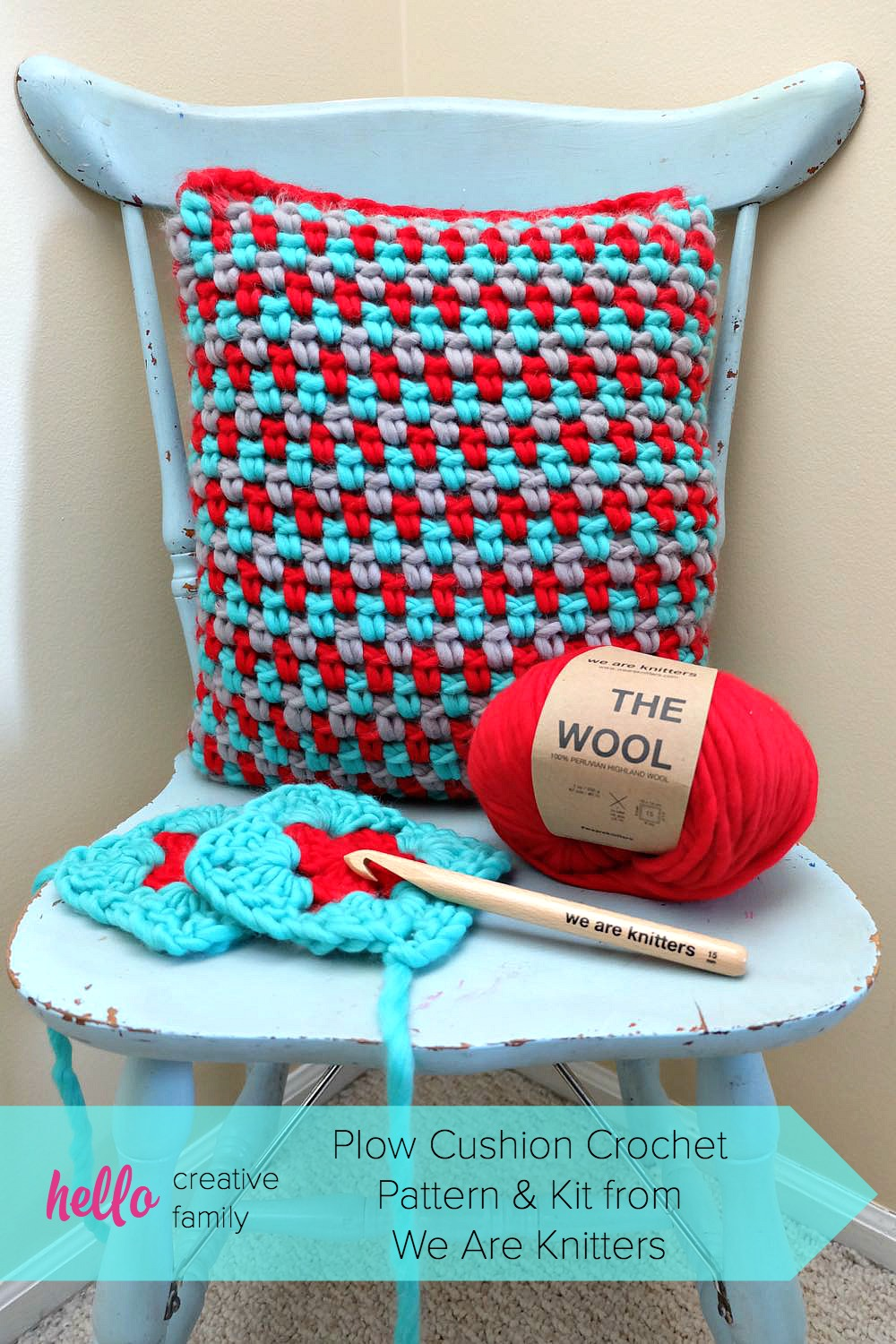 Crochet and knitting is easy, with a little help from We Are Knitters! Check out the gorgeous Plow Cushion Crochet Pattern and Kit we made!