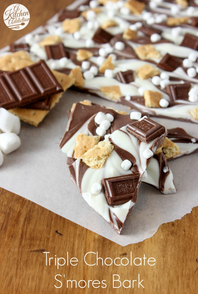 27+ Cookie Recipes Perfect For Christmas Cookie Exchanges- Triple Chocolate Smores Bark Recipe from A Kitchen Addiction