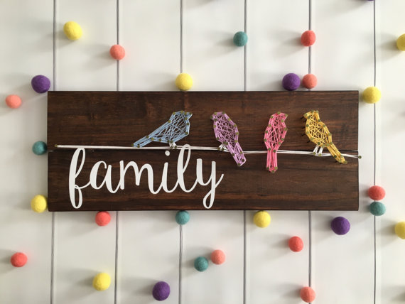 Bird Family String Art from Customized by Ashley