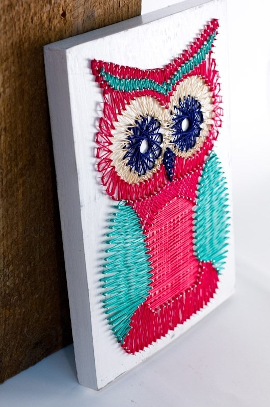27+ DIY String Art Projects: DIY Owl String Art from Craftionary