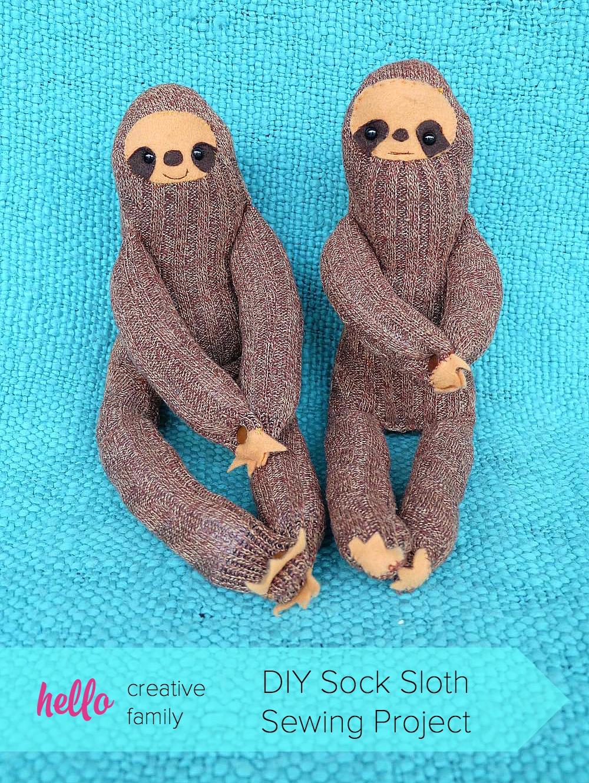 50 Easy Handmade Gift Ideas You'll Love: DIY Sock Sloths
