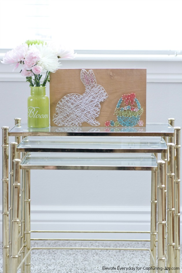 27+ DIY String Art Projects: Easter Bunny and Basket String Art from Kristen Duke Photography