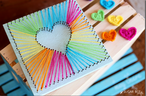 27+ DIY String Art Projects: Heart String Art from Sugar Bee Crafts