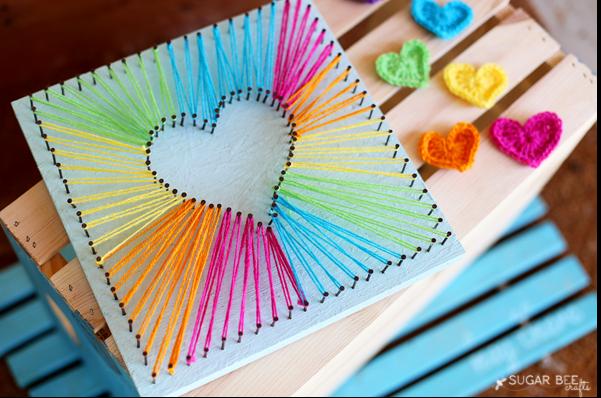 Thread art diy easy craft ideas for Inspirational art project ideas