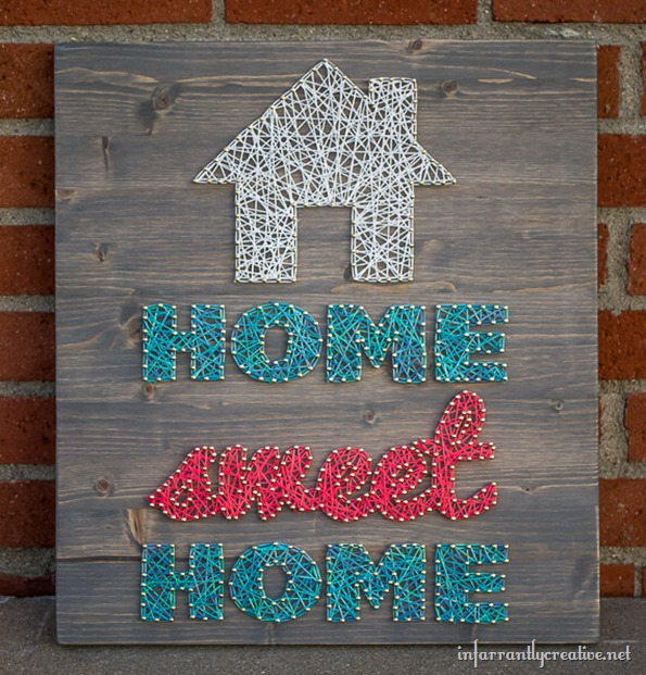 27+ DIY String Art Projects: Home Sweet Home String Art from Infarrantly Creative