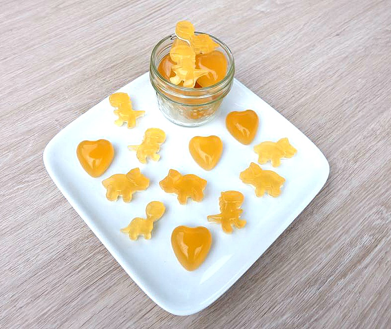 Sooth a sore throat and eliminate cold and flu symptoms with this easy, DIY cold remedy! This sore throat soothing gummies recipe has only four ingredients- lemon, honey, ginger and gelatin! Perfect for kids and adults!