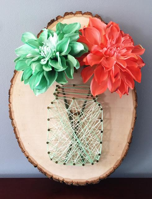 27+ DIY String Art Projects: Mason Jar Flower Arrangement String Art from Dear Paradise