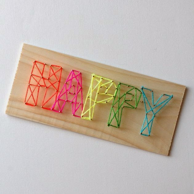 27+ DIY String Art Projects: Neon Happy String Art from Make Haus