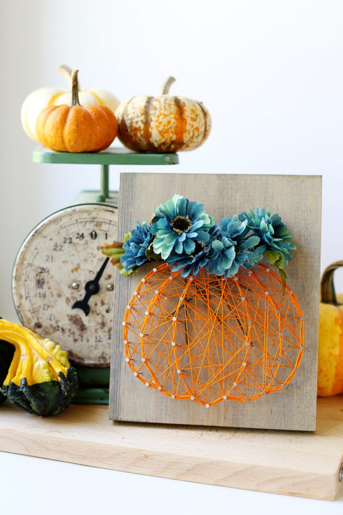 27+ DIY String Art Projects: Pumpkin Floral Fall Flowers String Art from Sugar Bee Crafts