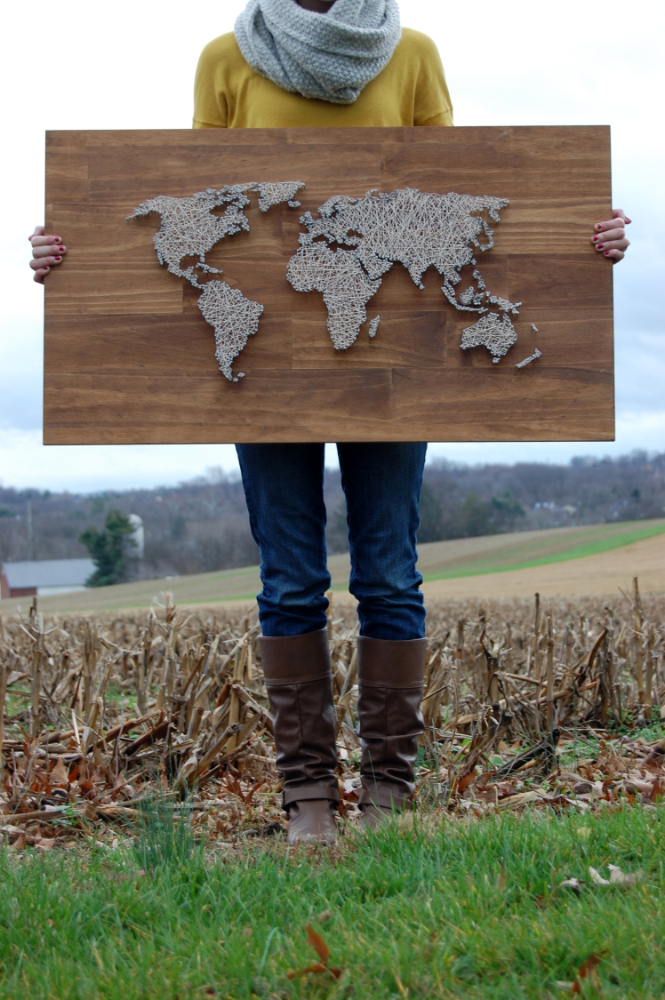 27+ DIY String Art Projects: World Map String Art from The Coffee Cafe