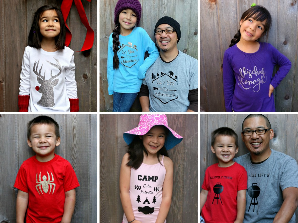 Find a ton of fun family shirt designs for adults and kids, to cut on heat transfer vinyl with the Cricut at Hello Creative Family. These make such fun and easy customized, personal handmade gifts.