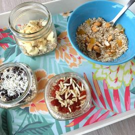 Breakfast meal planning just got easy! Get kids cooking with this easy tutorial on how to make homemade instant oatmeal packets! Set up a table with all the toppings and let kids pre make their breakfast for the week! Includes ideas for delicious oatmeal toppings!