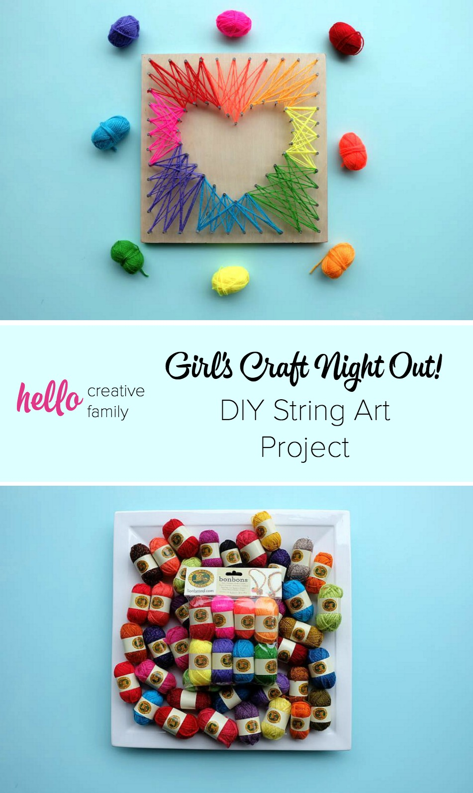 Get a group of girlfriends together for a craft night and try this easy DIY project! Make your own string art with these easy instructions.