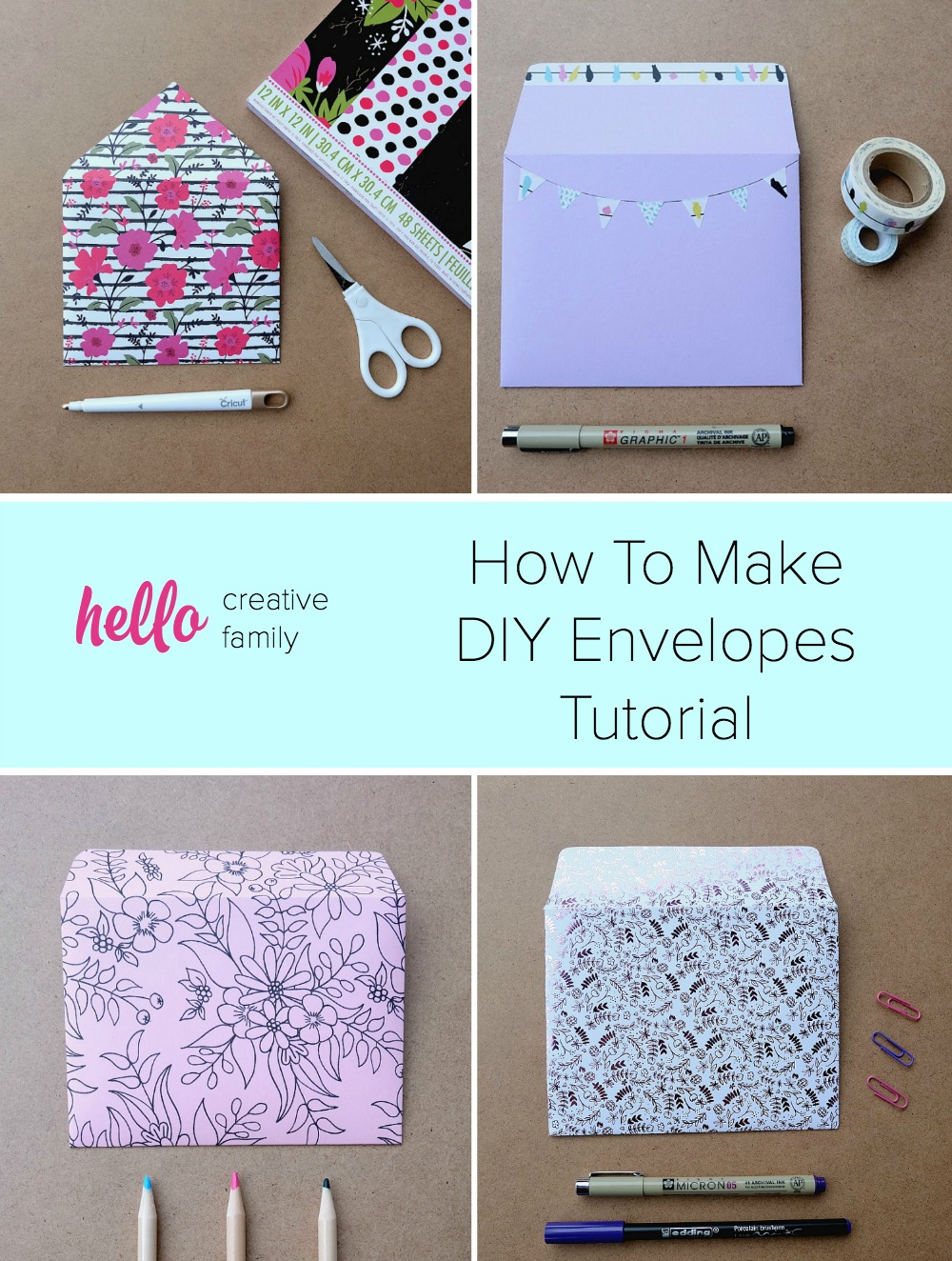 You'll want to hang onto old Christmas and Birthday card envelopes after reading this post! Upcycle old envelopes into envelope templates! Learn How To Make DIY Envelopes in minutes using scrapbooking paper and cardstock with this easy tutorial!