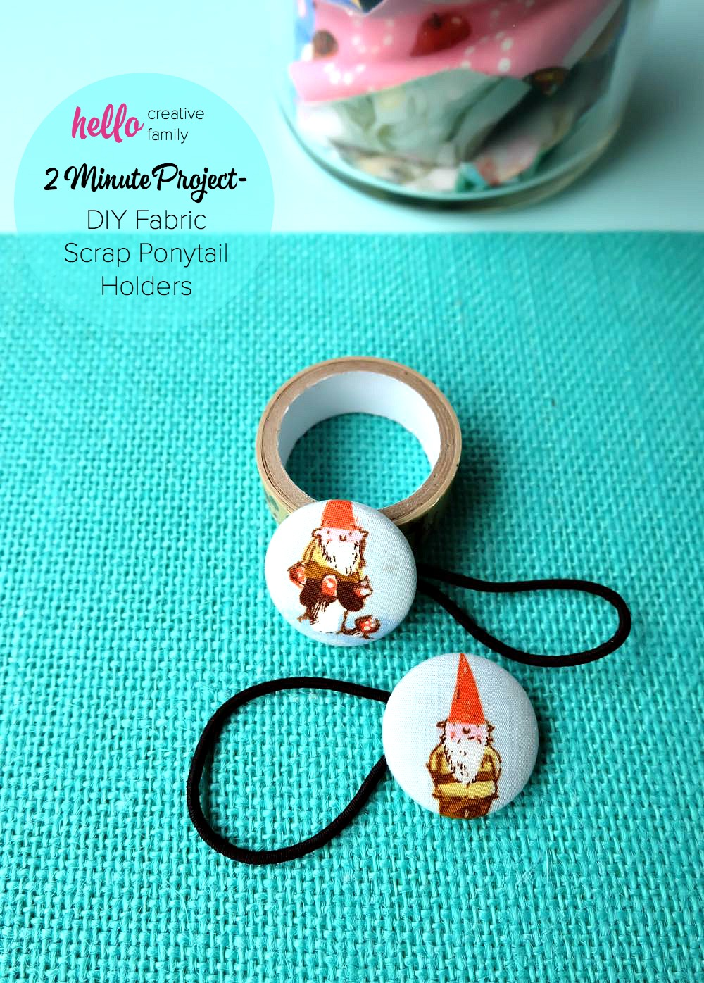 Pull out those fabric scraps! This fun project takes 2 minutes to make and is a fun, easy and inexpensive handmade gift idea! Learn how to make DIY Fabric Scrap Ponytail Holders with this tutorial that has step by step photos! Perfect for stocking stuffers or a $5.00 or less gift!