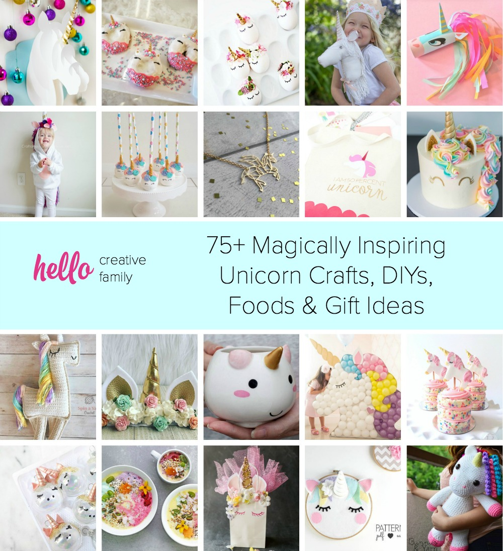 Do you love all things unicorn? Here are 75+ Magically Inspiring Unicorn Crafts, DIYs, Foods and Gift Ideas perfect for a unicorn themed birthday party or for anyone who is obsessed with unicorns!