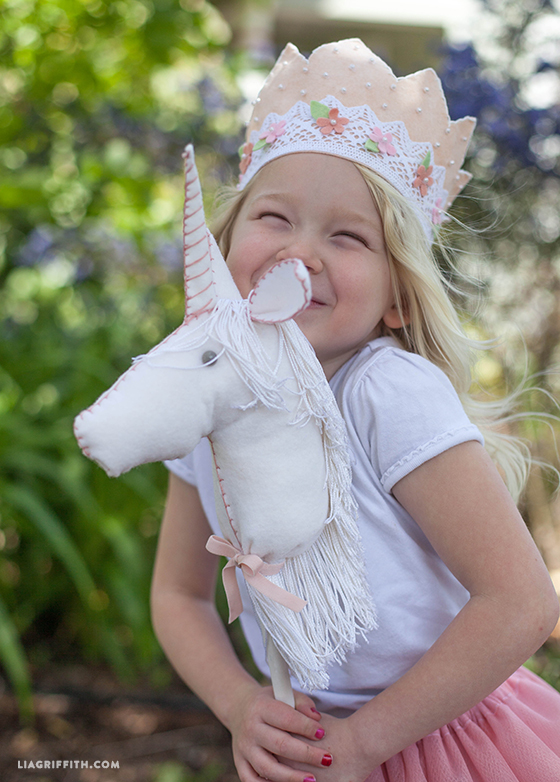 75+ Magically Inspiring Unicorn Crafts, DIYs, Foods and Gift Ideas: DIY Felt Stick Unicorn from Lia Griffith