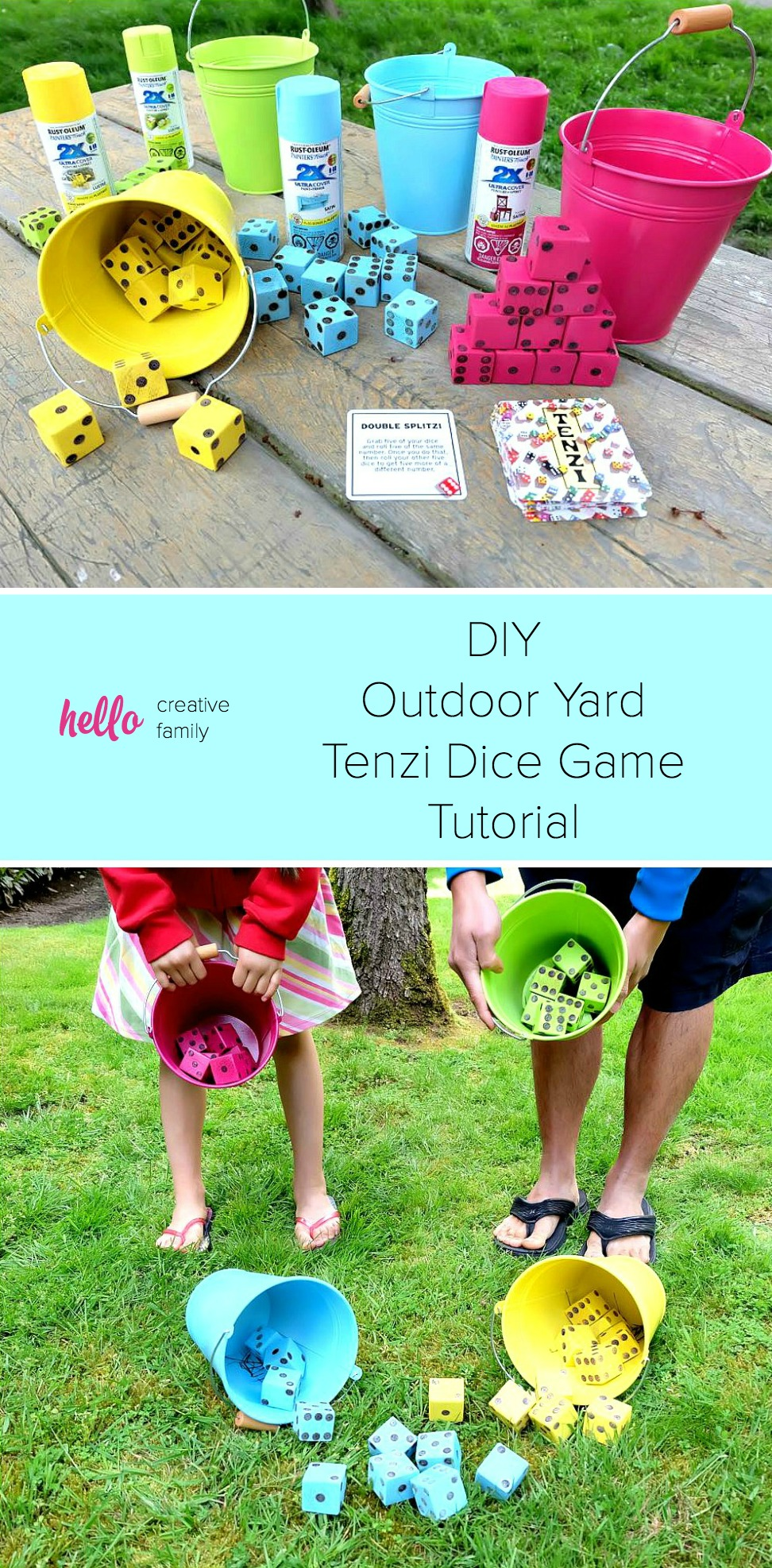 photograph regarding 77 Ways to Play Tenzi Printable titled Do-it-yourself Tenzi Outside Back garden Cube Recreation Guideline - Howdy Innovative