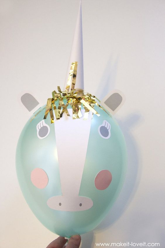 75+ Magically Inspiring Unicorn Crafts, DIYs, Foods and Gift Ideas: DIY Unicorn Balloons from Make It & Love It