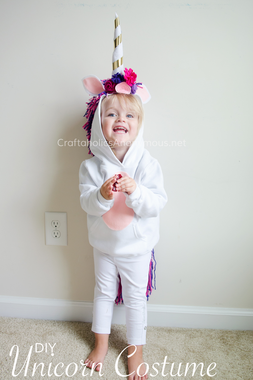 75+ Magically Inspiring Unicorn Crafts, DIYs, Foods and Gift Ideas: DIY Unicorn Costume from Craftaholics Anonymous