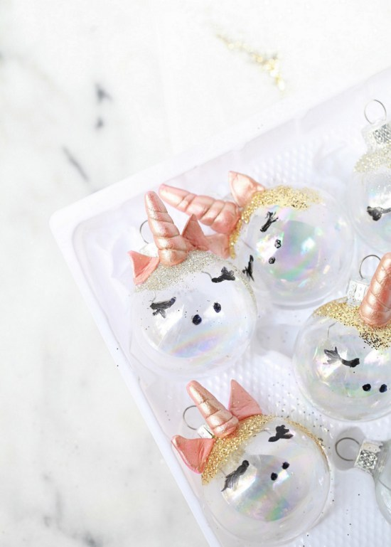 75+ Magically Inspiring Unicorn Crafts, DIYs, Foods and Gift Ideas: DIY Unicorn Ornaments from Posh Little Designs