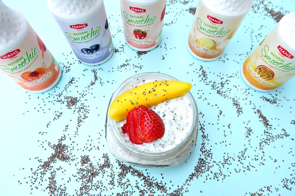 Breakfast is ready with only 30 seconds of prep work with this delicious and nutritious, protein packed breakfast idea! Kids can help make this 30 second prep easy chia pudding recipe in flavors like mango, strawberry, blueberry, passionfruit and peach! #HansDairy #sponsored