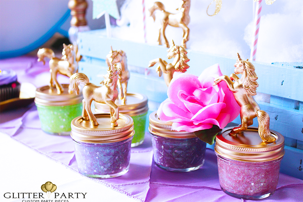 75+ Magically Inspiring Unicorn Crafts, DIYs, Foods and Gift Ideas: Glitter Unicorn Party Favors from Glitter Party Events and Design