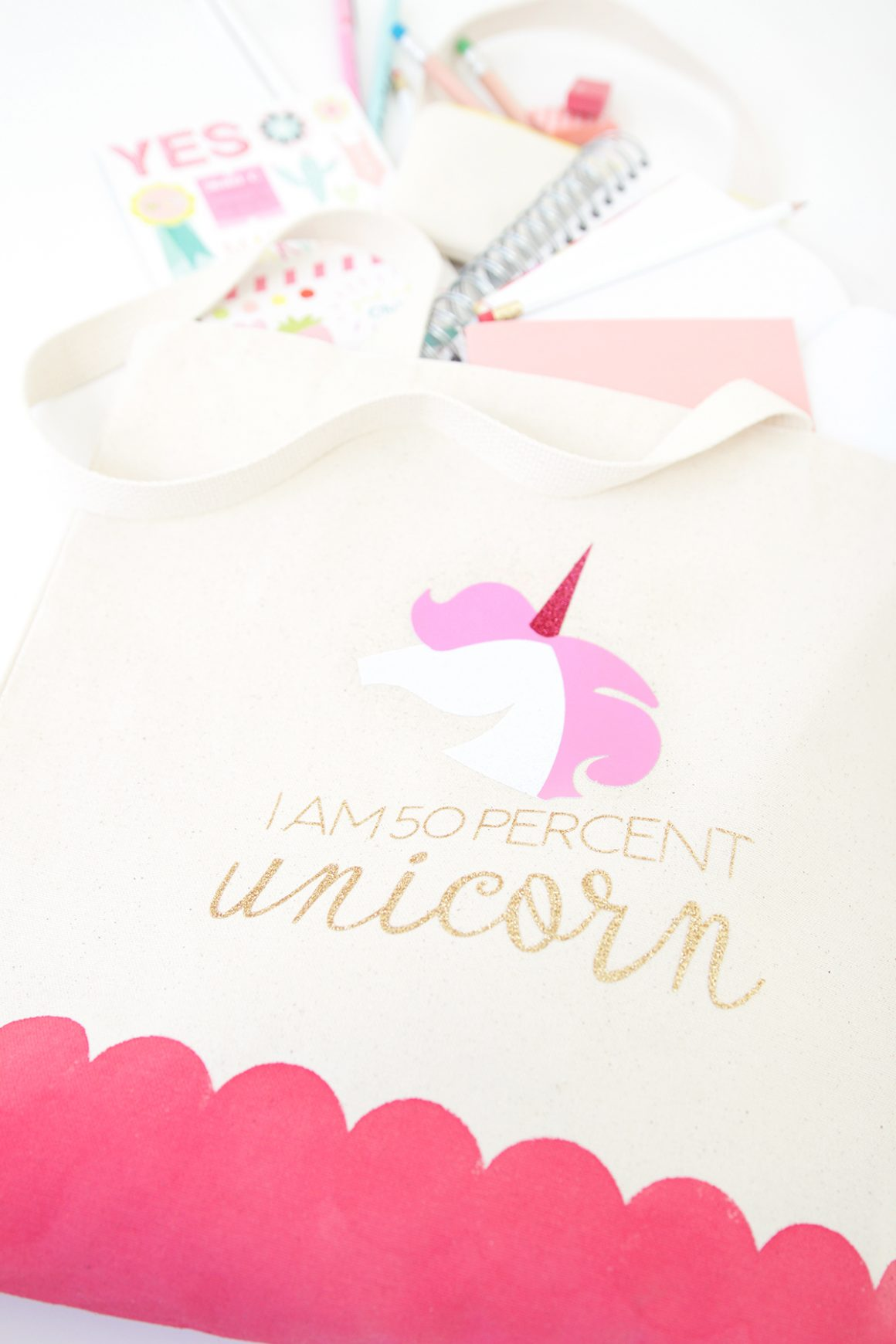 75+ Magically Inspiring Unicorn Crafts, DIYs, Foods and Gift Ideas: I Am 50% Unicorn DIY Tote Bag from Damask Love
