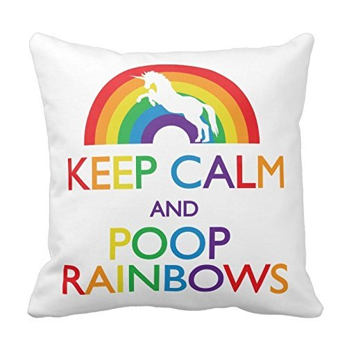 75+ Magically Inspiring Unicorn Crafts, DIYs, Foods and Gift Ideas: Keep Calm and Poop Rainbows Unicorn Pillow