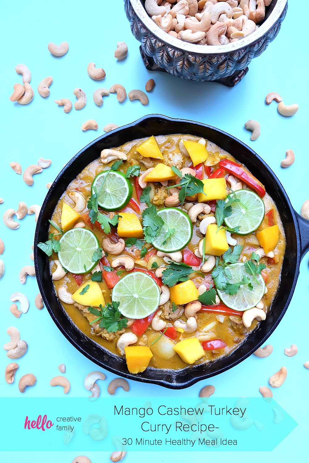 Feed your family a delicious, fresh meal packed with protein that will be on the table in 30 minutes or less! This healthy Mango Cashew Turkey Curry Recipe is sure to become a favorite! Make in a cast iron skillet or your favorite frying pan! Bonus- It's a one pot meal! #TryTurkey