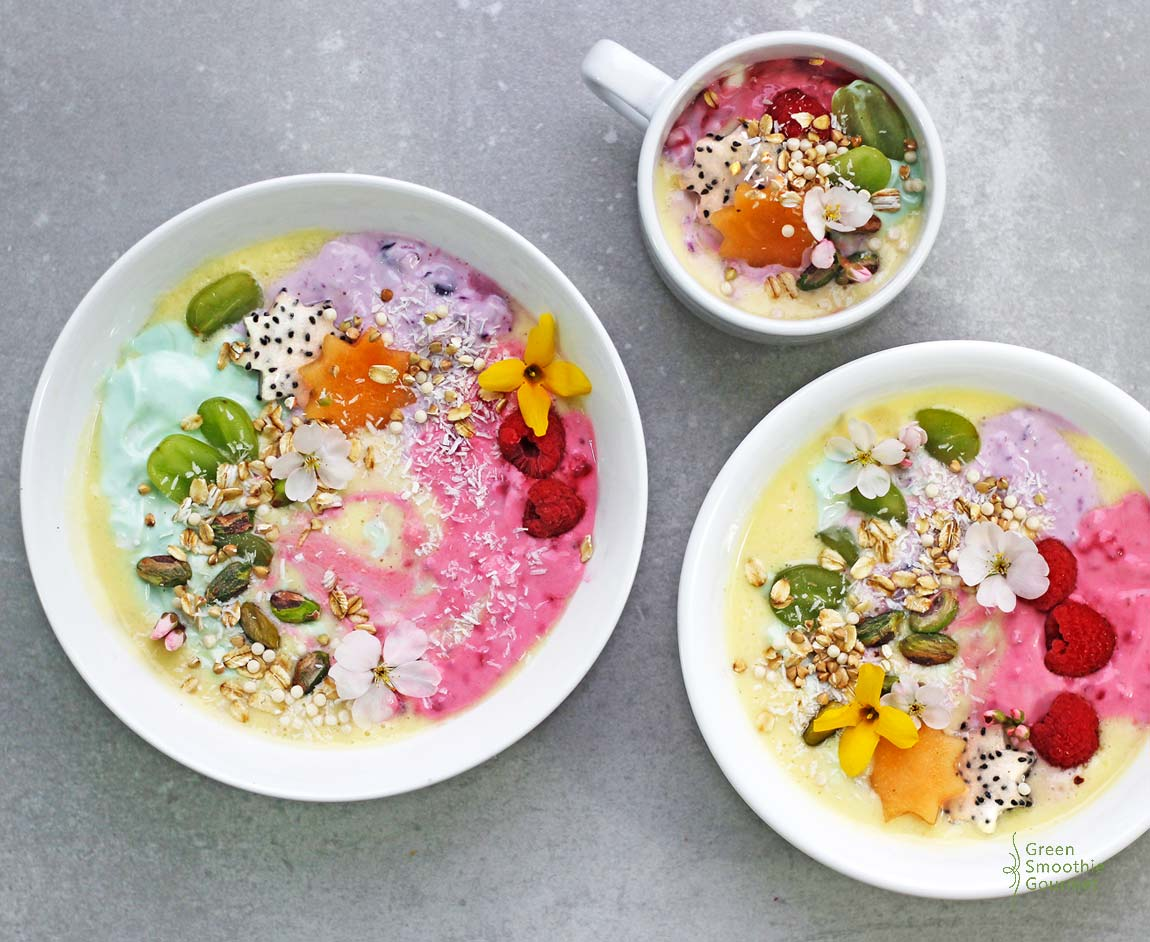 75+ Magically Inspiring Unicorn Crafts, DIYs, Foods and Gift Ideas: Rainbow Unicorn Protein Smoothie Bowl from Green Smoothie Gourmet