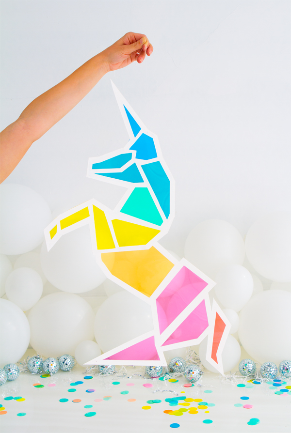 75+ Magically Inspiring Unicorn Crafts, DIYs, Foods and Gift Ideas: Stained Glass Unicorn from Oh Happy Day