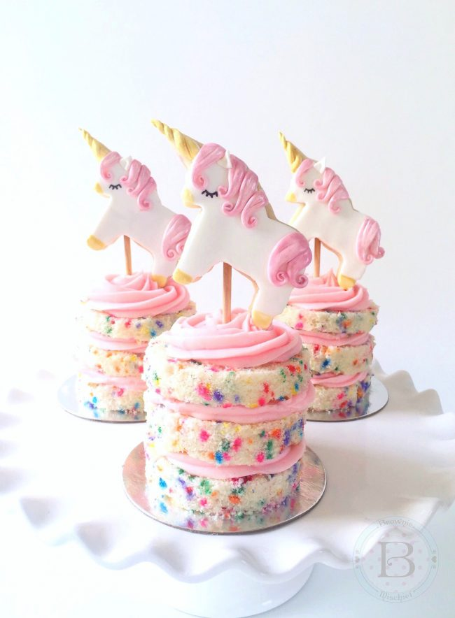 75+ Magically Inspiring Unicorn Crafts, DIYs, Foods and Gift Ideas: Unicorn Cookie Cake Toppers from Brownie Mischief