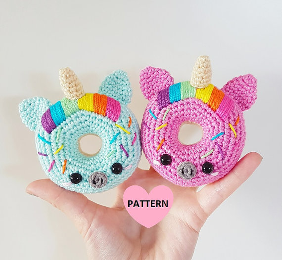 75+ Magically Inspiring Unicorn Crafts, DIYs, Foods and Gift Ideas: Unicorn Donuts Crochet Pattern from Super Cute Design Studio