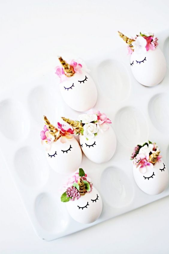 75+ Magically Inspiring Unicorn Crafts, DIYs, Foods and Gift Ideas: Unicorn Easter Eggs from Little Inspiration