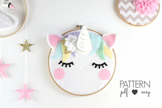 75+ Magically Inspiring Unicorn Crafts, DIYs, Foods and Gift Ideas: Unicorn Embroidery Hoop Art Pattern from Maisie Moo