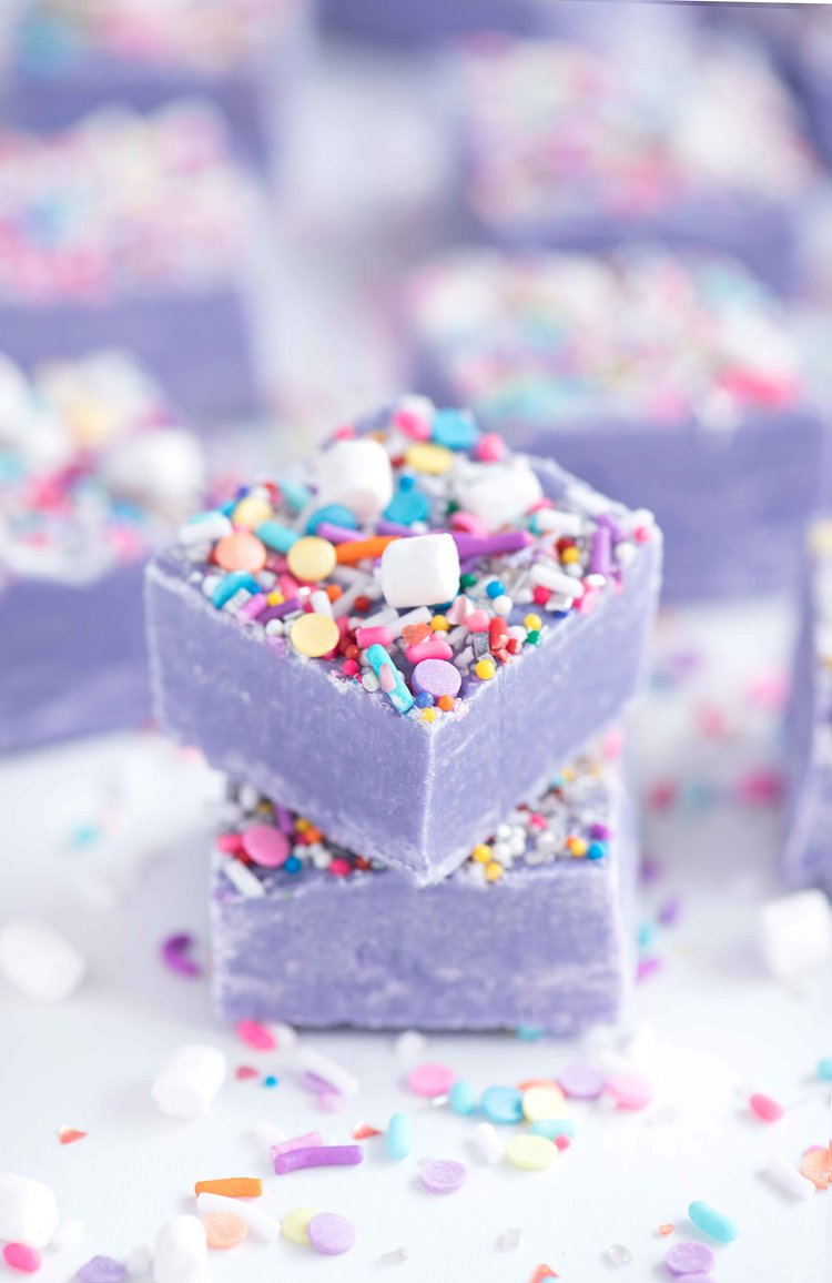 75+ Magically Inspiring Unicorn Crafts, DIYs, Foods and Gift Ideas: Unicorn Fudge from Sprinkles for Breakfast