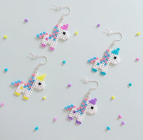 75+ Magically Inspiring Unicorn Crafts, DIYs, Foods and Gift Ideas: Unicorn Hama Bead Earrings