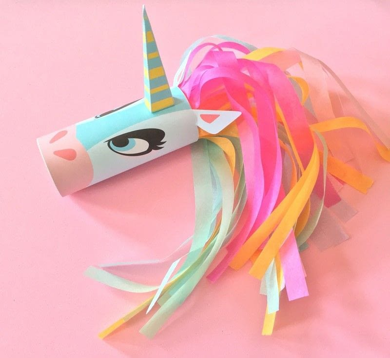 75+ Magically Inspiring Unicorn Crafts, DIYs, Foods and Gift Ideas: Unicorn Head Toilet Tube Craft Printable from Cut Out And Keep