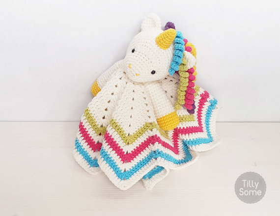 75+ Magically Inspiring Unicorn Crafts, DIYs, Foods and Gift Ideas: Unicorn Lovey Crochet Pattern from Tilly Some
