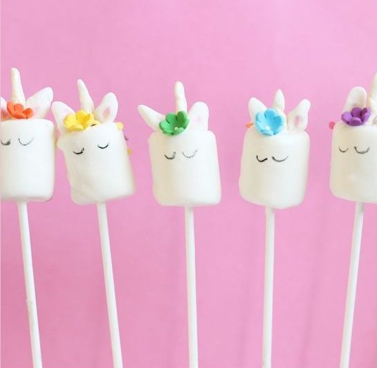 75+ Magically Inspiring Unicorn Crafts, DIYs, Foods and Gift Ideas: Unicorn Marshmallow Pops from The Decorated Cookie