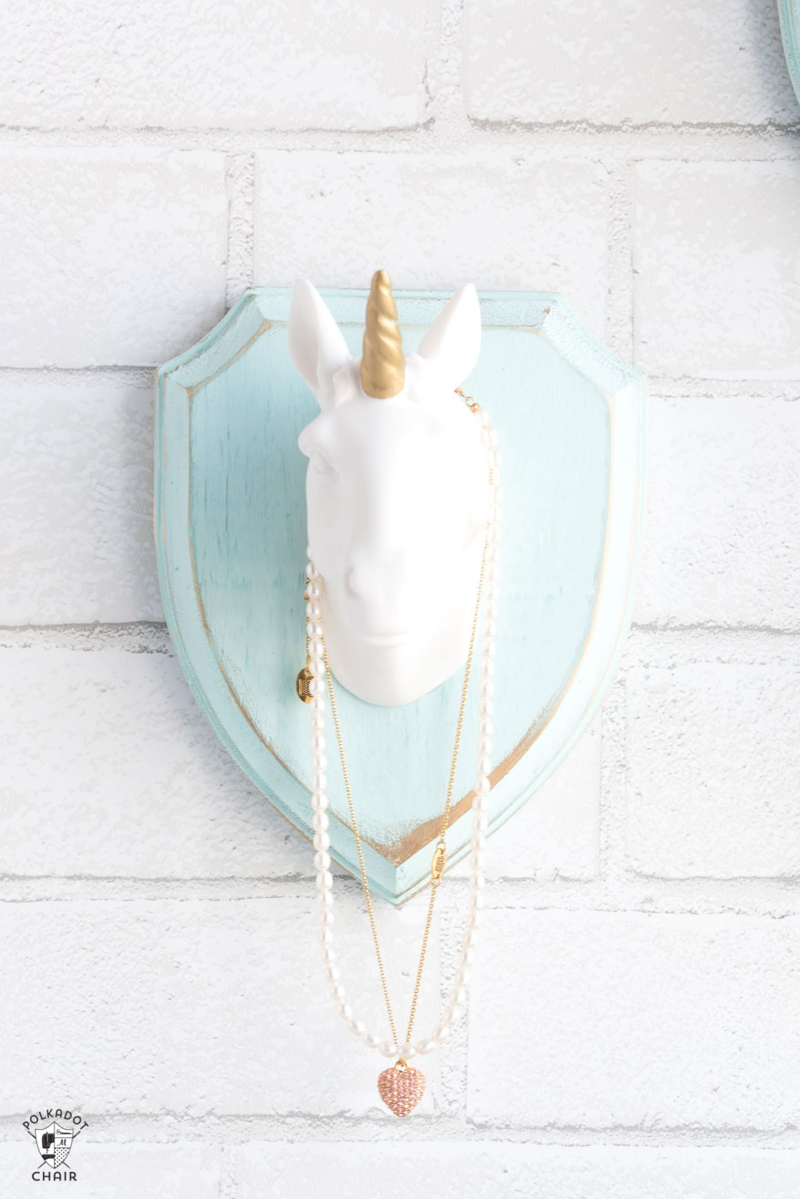 75+ Magically Inspiring Unicorn Crafts, DIYs, Foods and Gift Ideas: Unicorn Necklace Holder from Polka Dot Chair