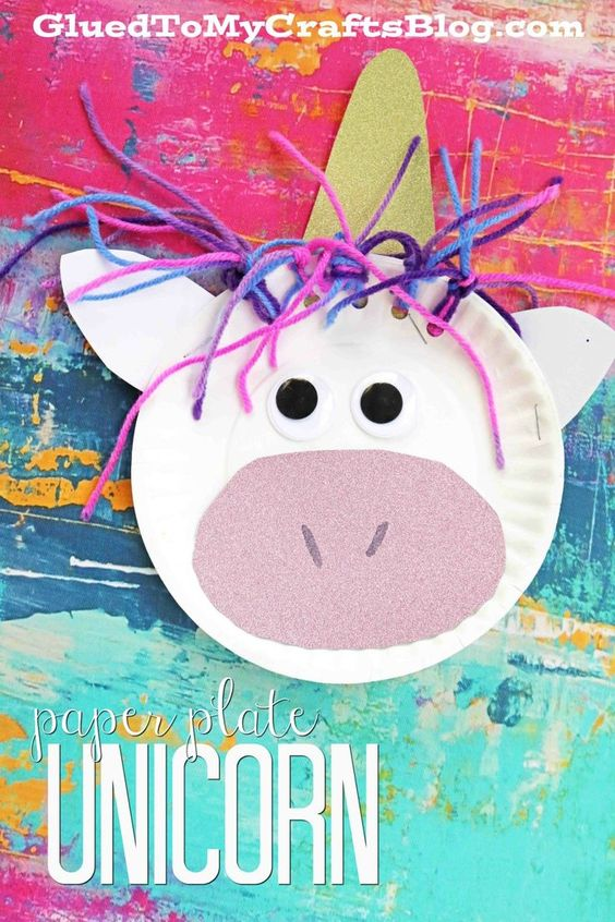 75+ Magically Inspiring Unicorn Crafts, DIYs, Foods and Gift Ideas: Unicorn Paper Plate Craft from Glued To My Crafts