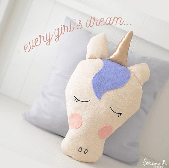 75+ Magically Inspiring Unicorn Crafts, DIYs, Foods and Gift Ideas: Unicorn Pillow Pattern from Solipandi